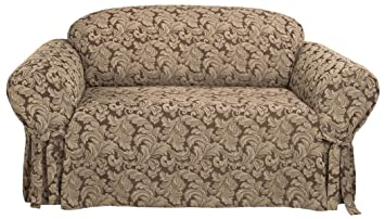 Amazon Com Surefit Scroll Sofa 1 Piece Slipcover Brown Kitchen
