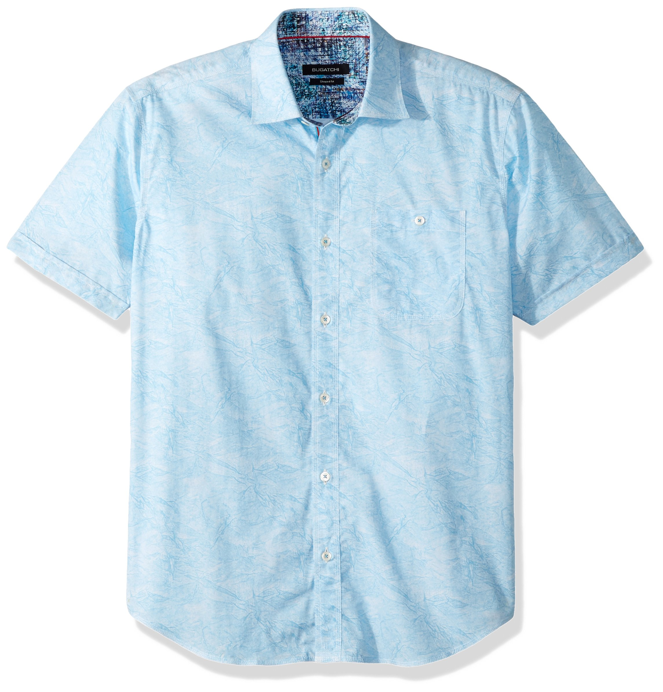 BUGATCHI Men's Cotton Shaped Fit Short Sleeve Drylands Woven, Ocean, L by Bugatchi (Image #1)