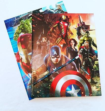 Marvel Vengadores cartera carpetas – Pack de 2 con lápiz: Amazon ...