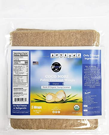 Organic Coconut Wraps, Coco Nori Original (Raw, Vegan, Paleo, Gluten Free  wraps) Made from young