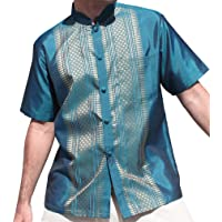 b53377b80 RaanPahMuang Short Sleeve Formal Chinese Woven Motif Silk Shirt