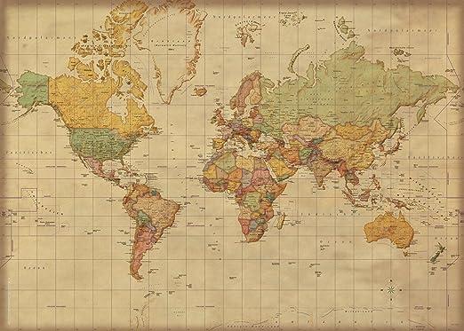 Landkarten Giant Xxl Poster Weltkarte Antik Deutsche Version