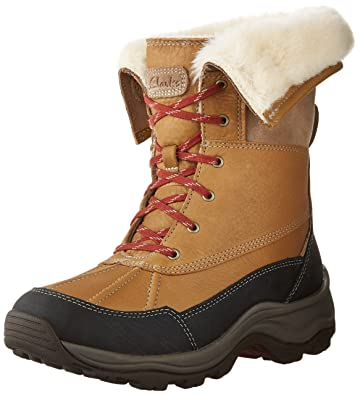 Clarks Women's Arctic Venture Boot Camel Leather WaterProof Size 6 B(M) US