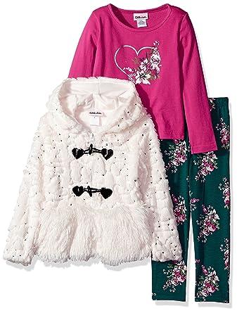 a58260d03280 Amazon.com: Little Lass Girls' 3 Pc Sequin Fur Jacket Set: Clothing