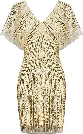 BABEYOND 1920s Flapper Sequin Dress Deep V Neck Roaring 20s Beaded Gatsby Dress
