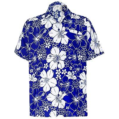 113fa8103  La Leela  Botón Casual de Flores de Hibisco Playa Abajo Aloha Hawaiano  Para Hombre