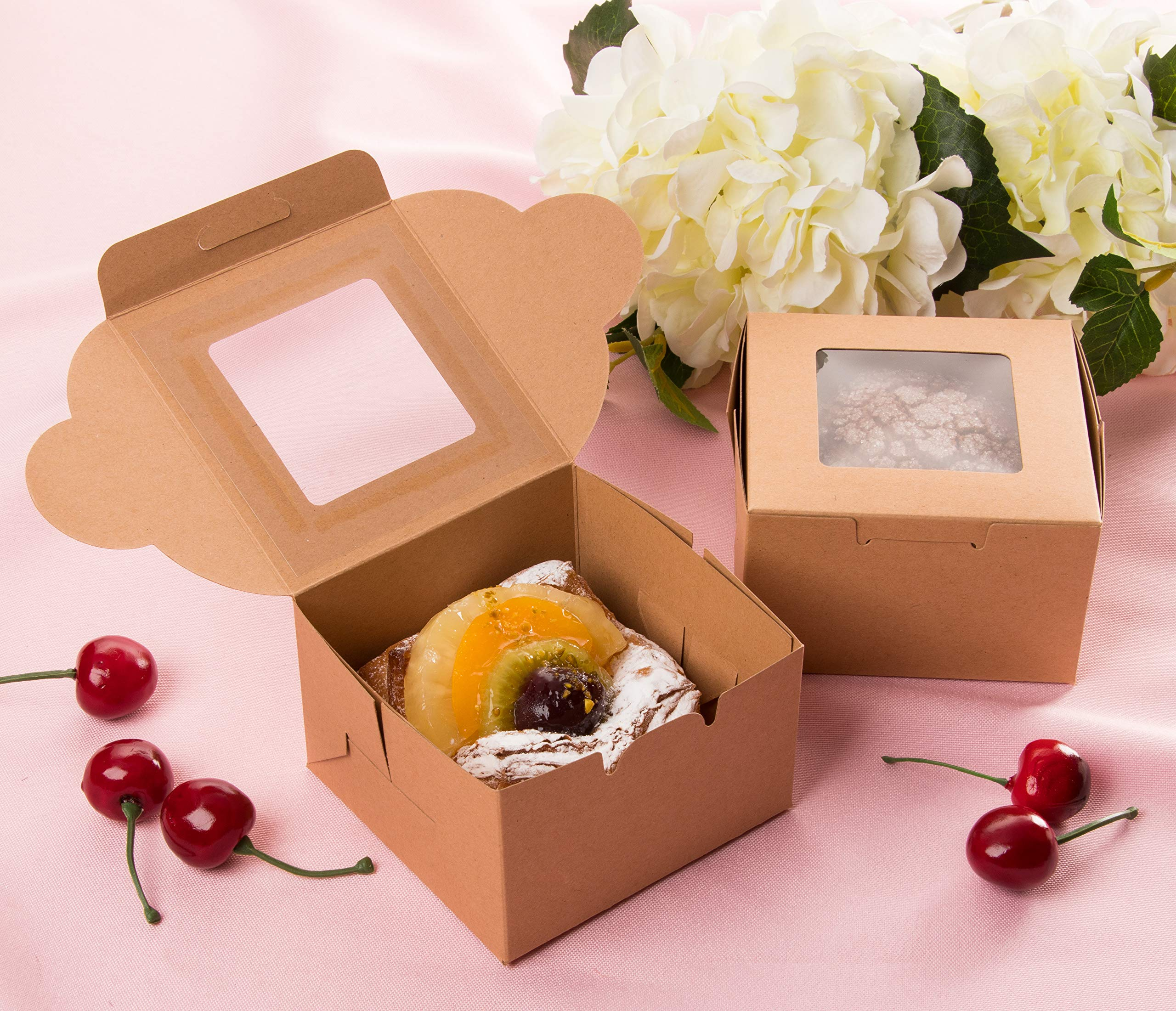 Kraft Paper Bakery Boxes - 50-Pack Single Pastry Box 4-Inch Packaging with Clear Display Window, Donut, Mini Cake, Pie Slice, Dessert Disposable Take-Out Container, Holds 1, Brown, 4 x 2.3 x 4 Inches by Juvale (Image #3)