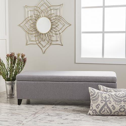 Christopher Knight Home Gable Fabric Storage Ottoman, Light Grey