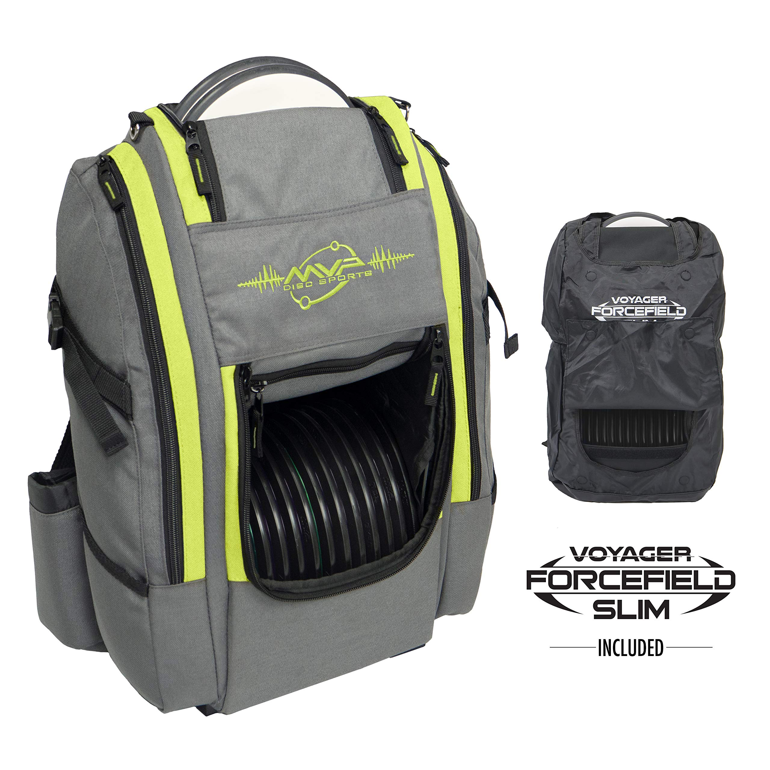 MVP Disc Sports Voyager Slim Bag (Gray/Lime) + Forcefield by MVP Disc Sports