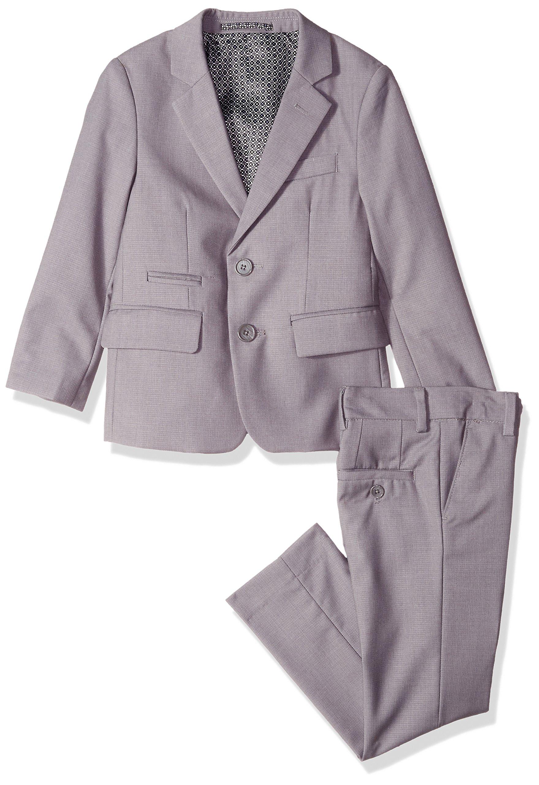 Isaac Mizrahi Big Boys' Textured 2pc Slim Fit Solid Suit, Gray, 12