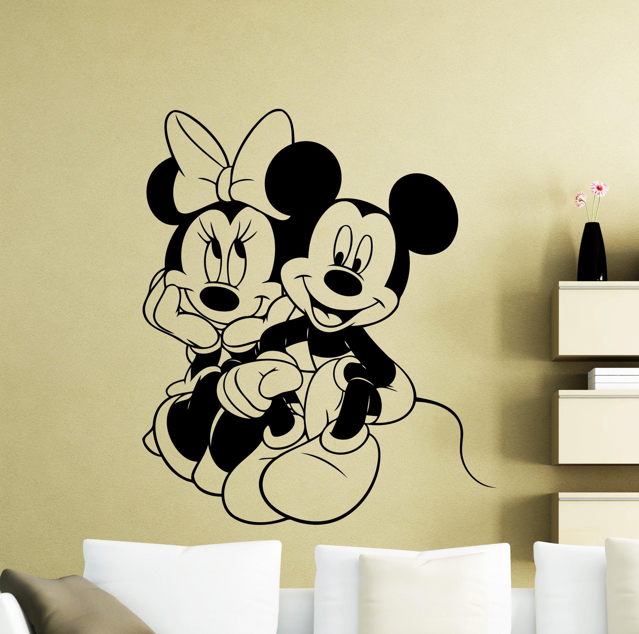 Mickey Mouse Wall Decal Cartoon Disney Vinyl Sticker Home Nursery Room Interior Art Decoration Any Kids Girl Boy Room Mural Waterproof Vinyl Sticker (396xx)