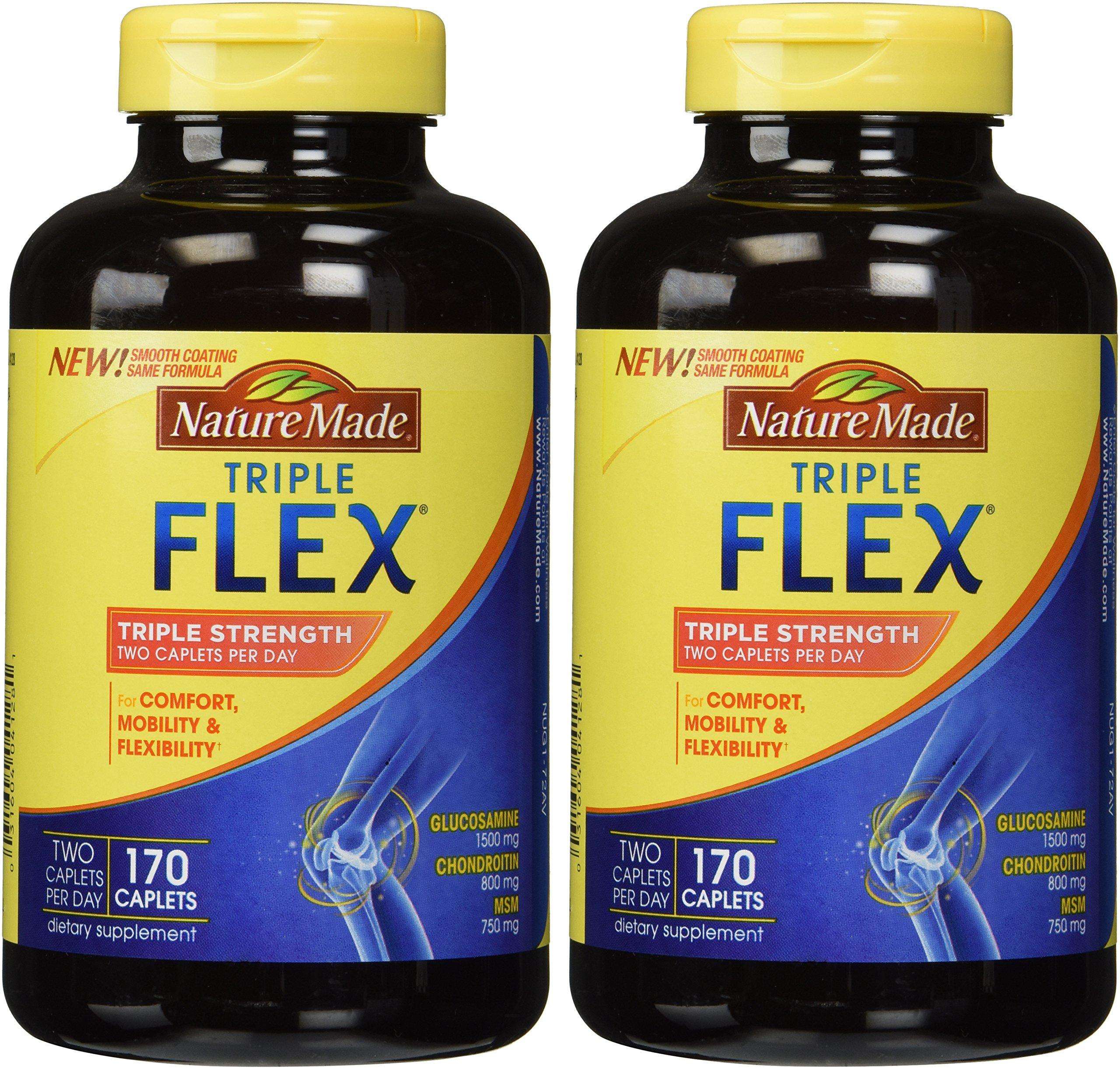 Nature Made TripleFlex - Glucosamine Chondroitin and MSM - 2 Bottles, 170 Caplets Each