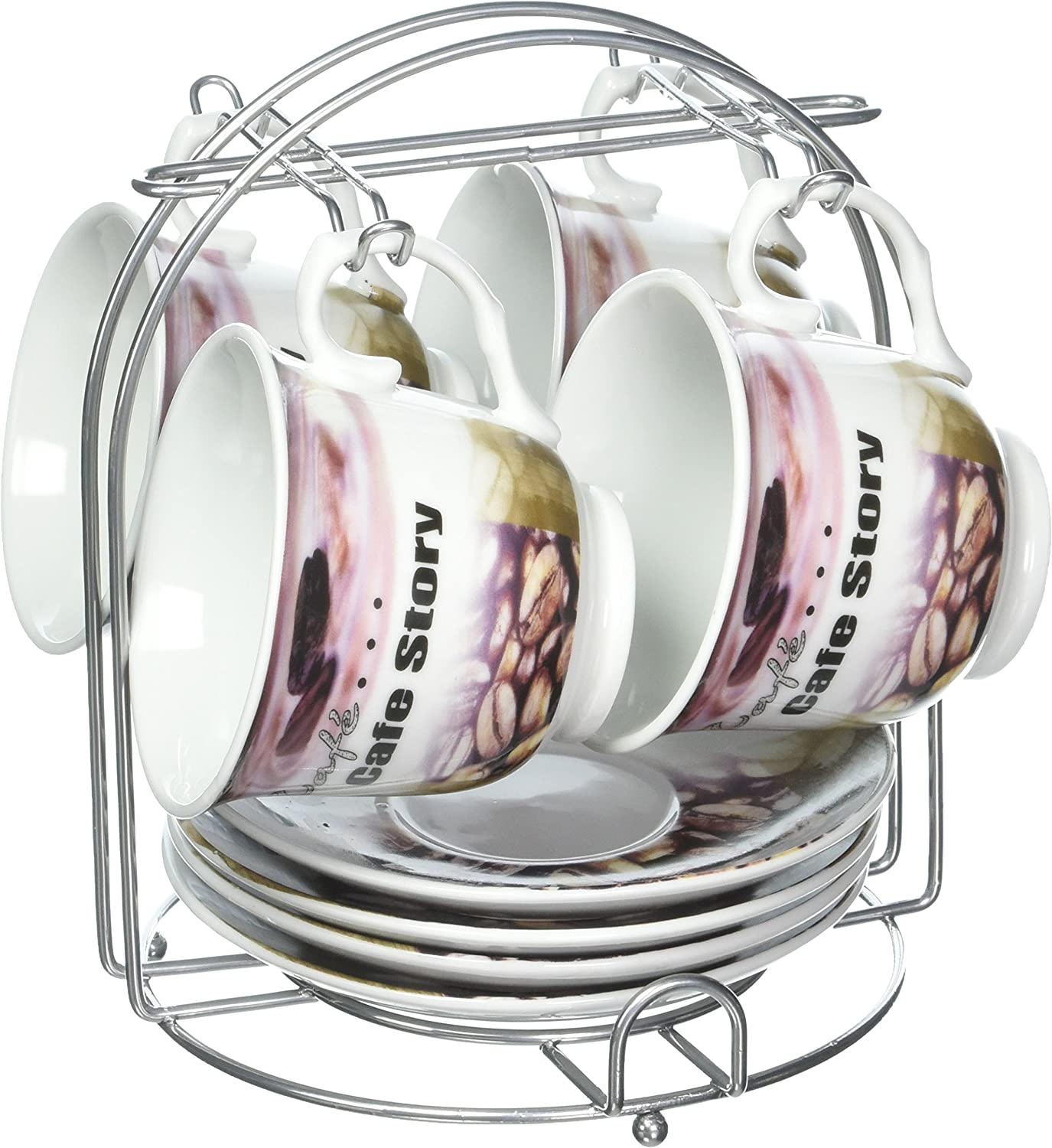 Lorren Home Trends 5-Piece Tea/Coffee Set, Brown Coffee Design
