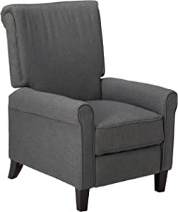 Christopher Knight Home Charell Traditional Fabric Recliner, Charcoal / Dark Brown
