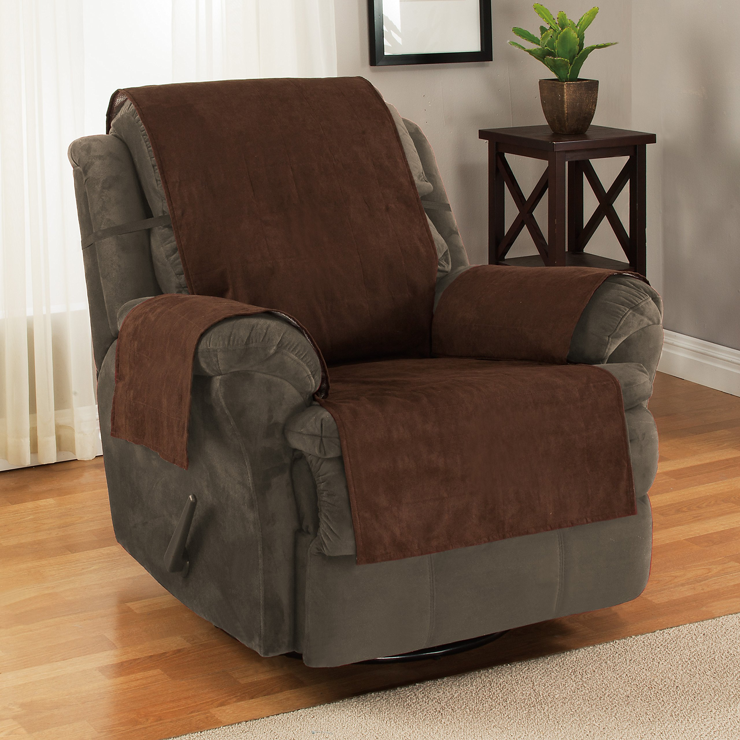 Furniture Fresh New and Improved Anti-Slip Grip Furniture Protector, Chair Cover, Slipcover, with Stay Put Straps and Water Resistant Microsuede Fabric. Protects from Dogs. (Recliner, Chocolate)  by Furniture Fresh