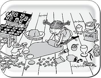 Pippi Langstrumpf Tablett Birke Pippi Backt Lebkuchen Schwarz Weiss 27x20 Cm Ary Trays Amazon De Kuche Haushalt