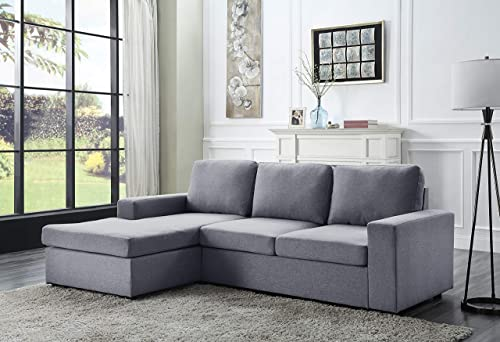 Lilola Home Newlyn Light Gray Linen Reversible Sectional Sofa Chaise