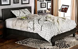 Furniture of America Lauren Leatherette Upholstered Platform Bed, Queen, Dark Espresso