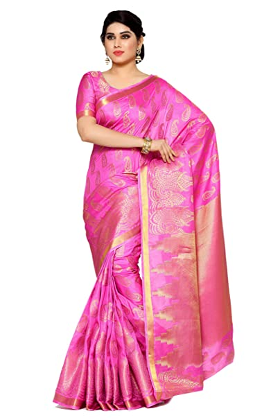 88bf69432d Mimosa Women's Silk Saree With Blouse Piece (4112-193-Sd-Pnk_Pink): Amazon. in: Clothing & Accessories