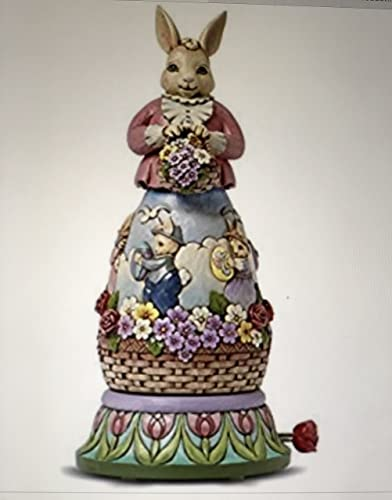 Jim Shore Easter Bunny Rotating Musical Figurine 10.75 H