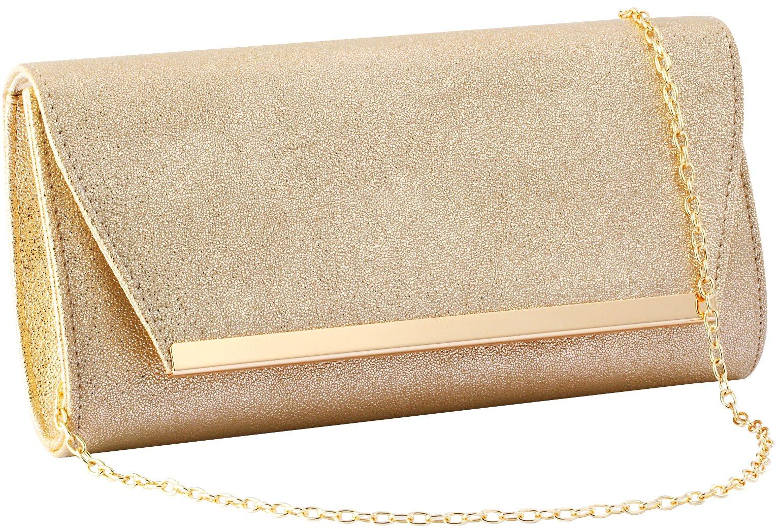 Women Evening Party Clutch Bags Handbag Bridal Wedding Purse (GOLD C)