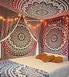 Raajsee, esclusivo tappeto decorativo con mandala, ideale anche come biancheria da letto, arazzo, applicazione a muro, multicolore in stile indiano, misure 220 cm x 240 cm (la x lu), Cotone, Red, 220*240cms
