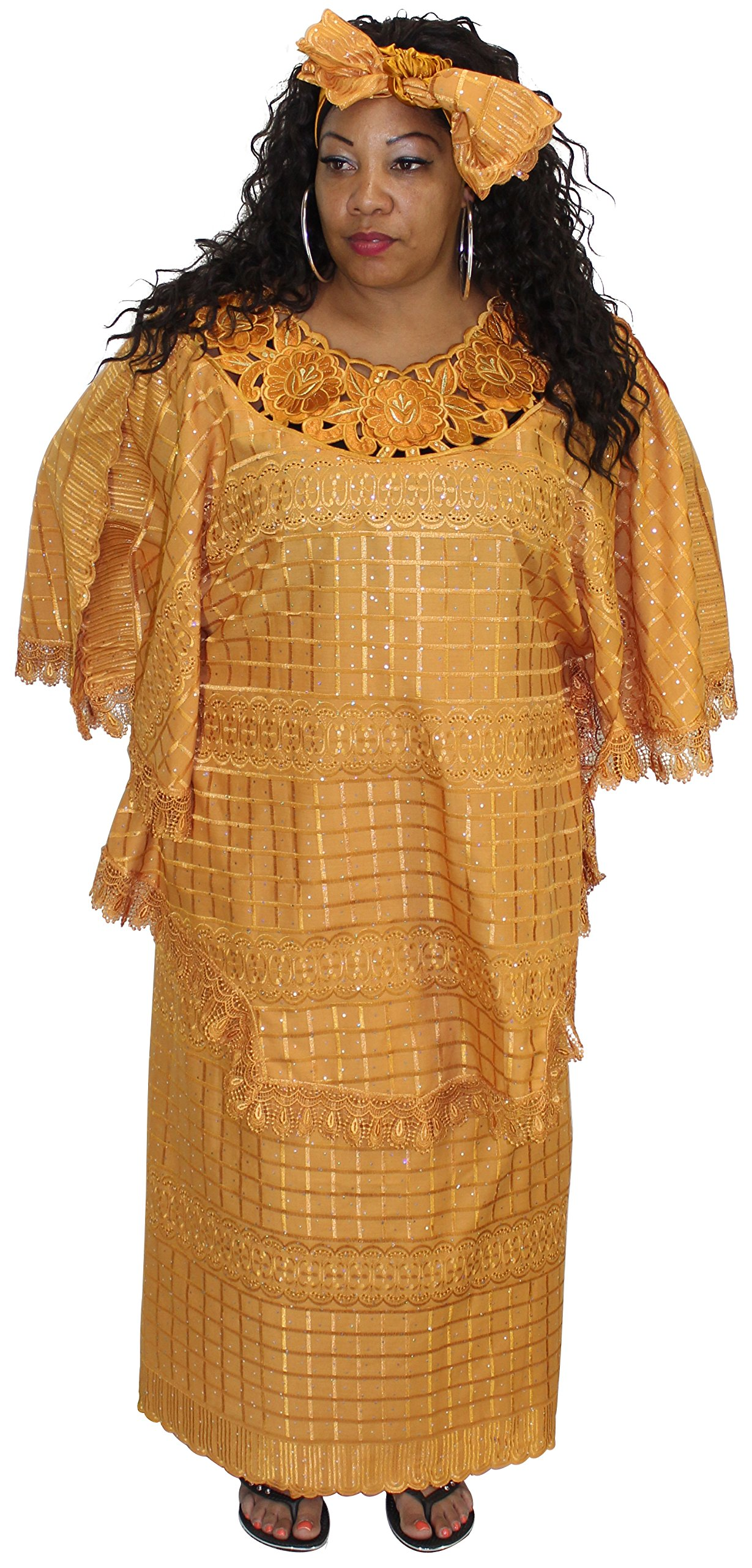 African Planet Women's Million Stone Lace Floral Skirt Set (Gold)