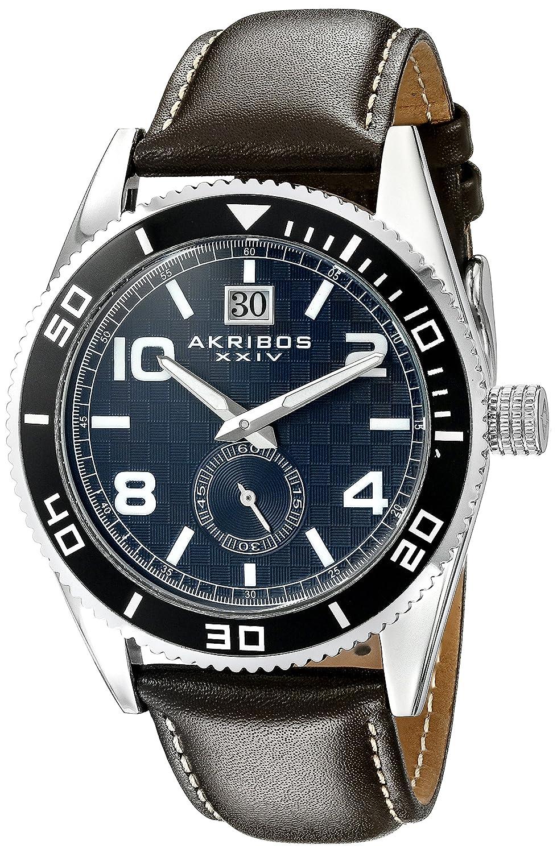 Akribos XXIV Men 's ak859bu Round Blue Dial Three Hand Quartz Strap Watch B013GEK43E