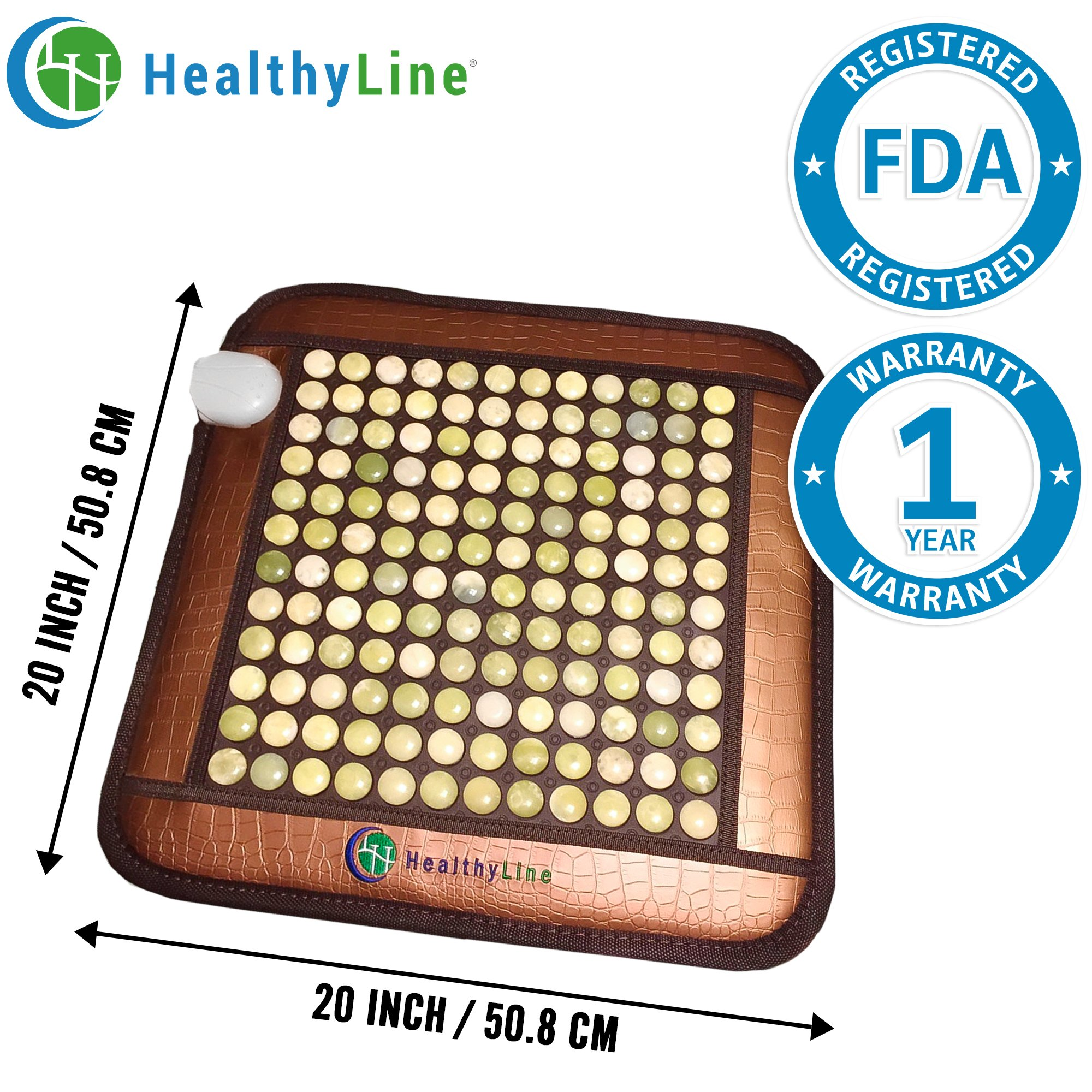 HealthyLine Far Infrared Heating Pad (Firm)|Natural Jade Healing Pad 20''X 20''| Heated Negative Ions|Relieve Muscles, Joints & Bones Pain |US FDA by HealthyLine