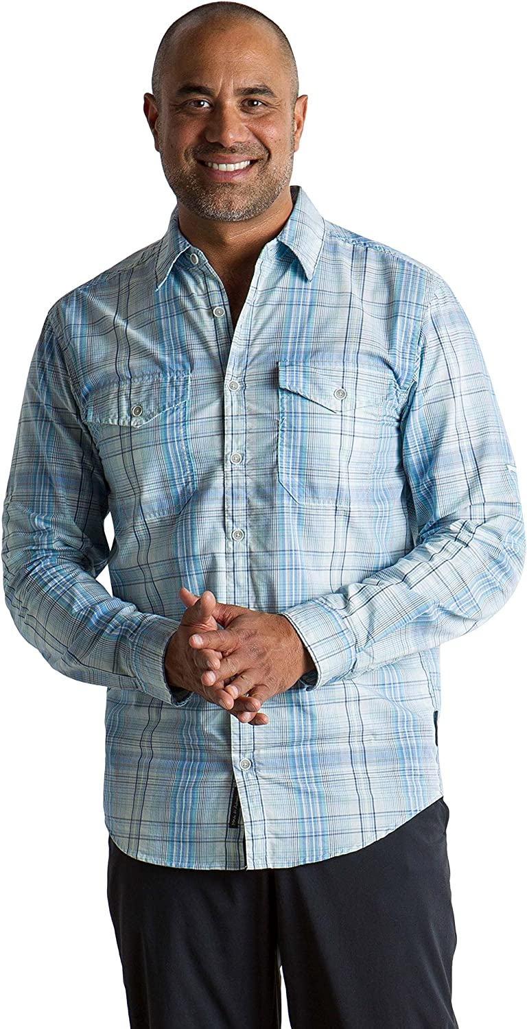 Image of Casual Button-Down Shirts ExOfficio Men's BugsAway Sol Cool Plaid Lightweight Long-Sleeve Shirt, X-Large, Silverlake