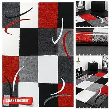 Commutateur lalee tapis design à carreaux rouge/gris/noir, avec ...