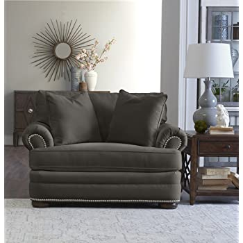"""Klaussner Home Furnishings Tilden Accent Armchair with 2 Throw Pillows, 45""""L x 54""""W x 37""""H, Pewter"""