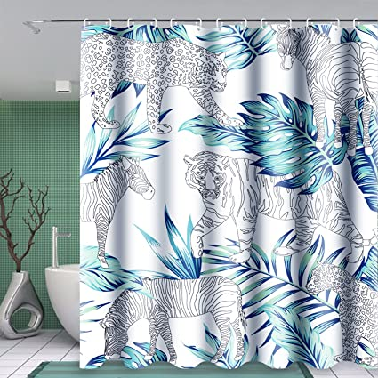 Uphome Fabric Waterproof Shower Curtain Heavy Duty Tropical Animals In The Forest With Palm Tree