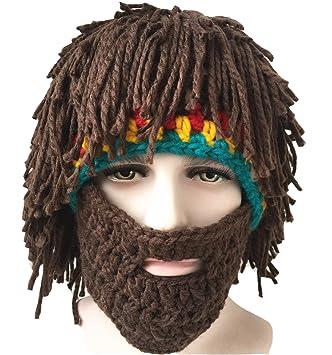 acquisto autentico a piedi a numerosi in varietà Engerla - Berretto in maglia uomo, con barba e capelli. Parrucca invernale  fatta a mano. Cuffia calda per inverno.