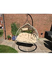 Santorini Cocoon Hanging Egg Chair 2 Person Double Wicker Rattan Style Cushions Holds Up To 240Kgs