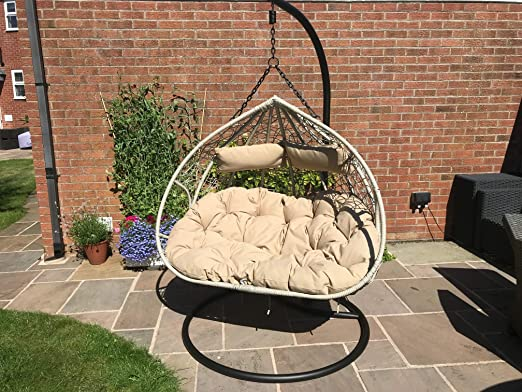 Santorini Cocoon Hanging Egg Chair 2 Person Double Wicker Rattan Style Cushions Holds Up To 240kgs Amazon Co Uk Garden Outdoors