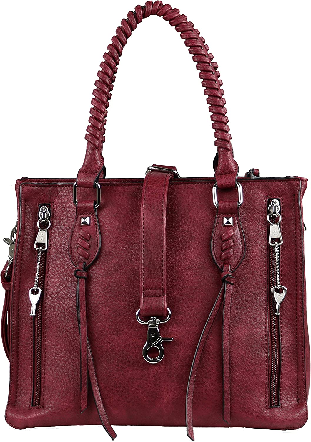 Concealed Carry Weapon Purse YKK Locking Amy Studded Satchel by Lady Conceal