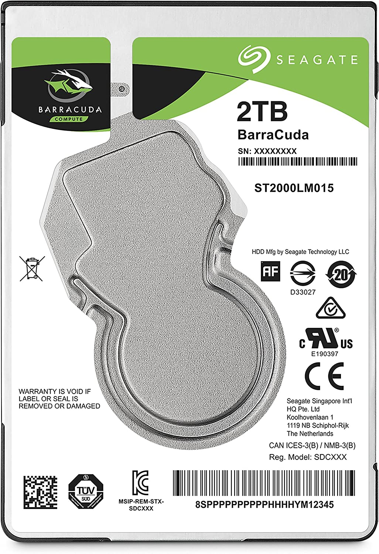 7 mm Remanufactured SATA 6 GB//s Black Black 2.5 inches 128 MB Cache Hard Disk Seagate ST2000LM015 Barracuda 2TB 6.4 cm