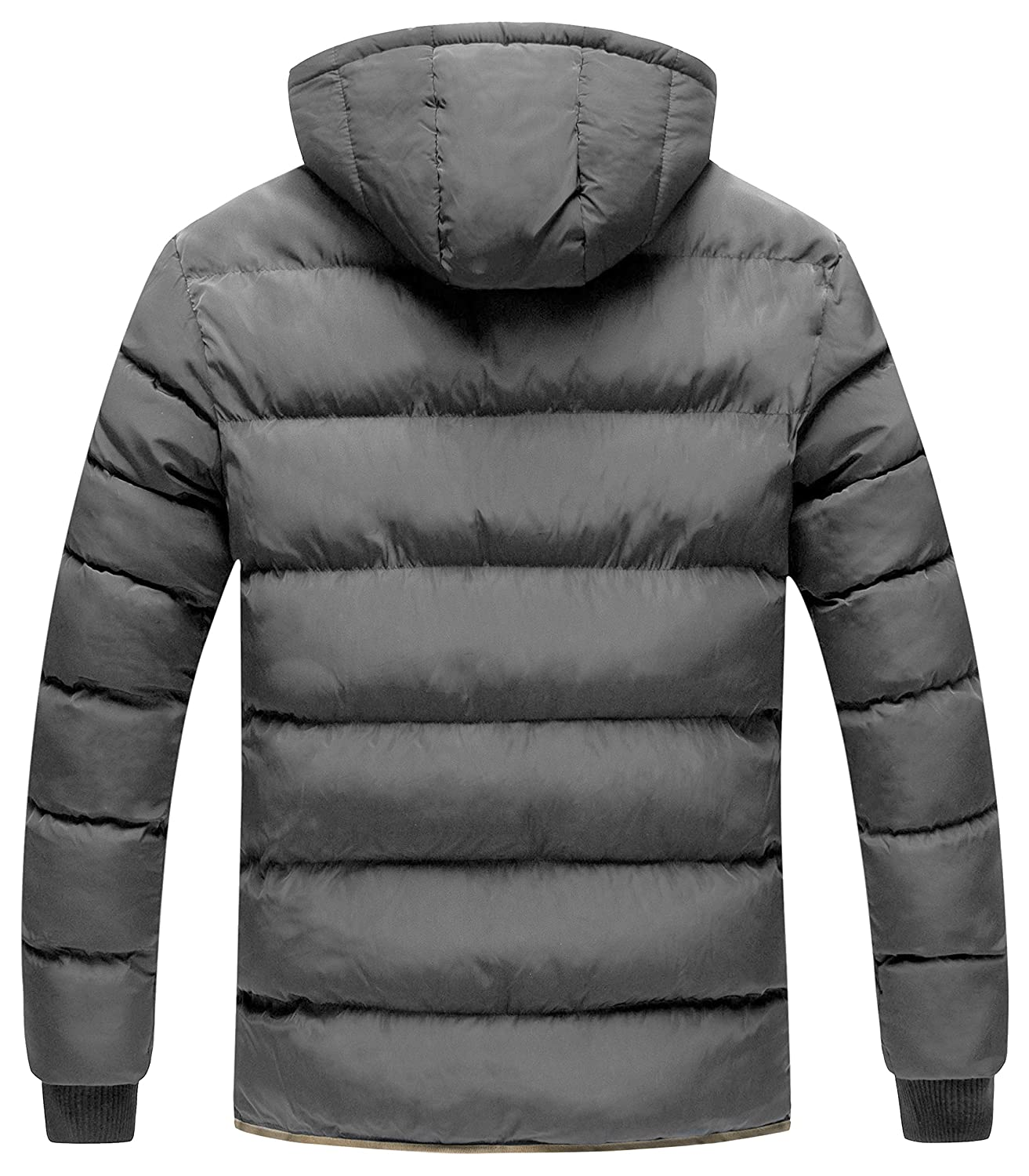 Zshow Mens Winter Thicken Jacket Warm Double Hooded Quilted Cotton Coat Fashion Men Casual Parka Down Padded Zipper