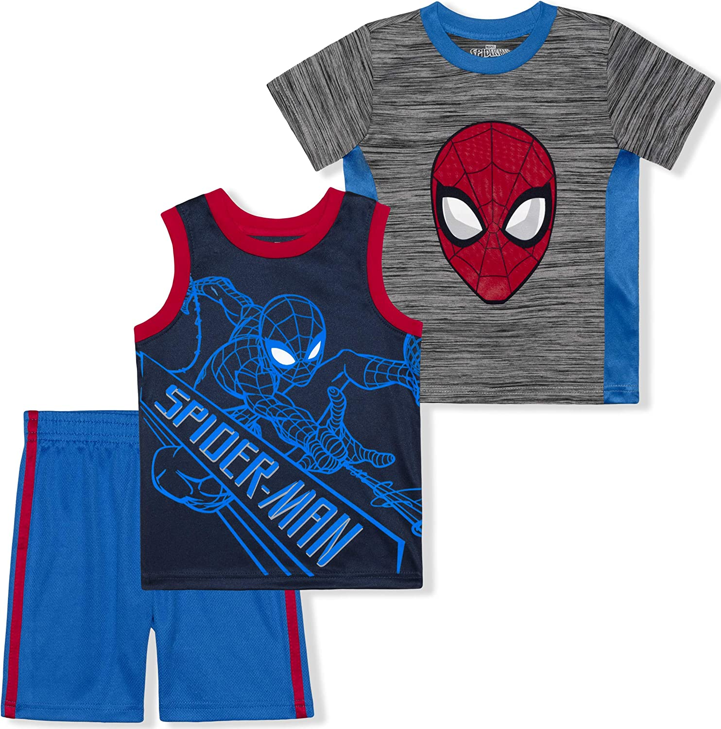 Marvel Boys 3-Piece Shirts and Short Set with Avengers Superheroes