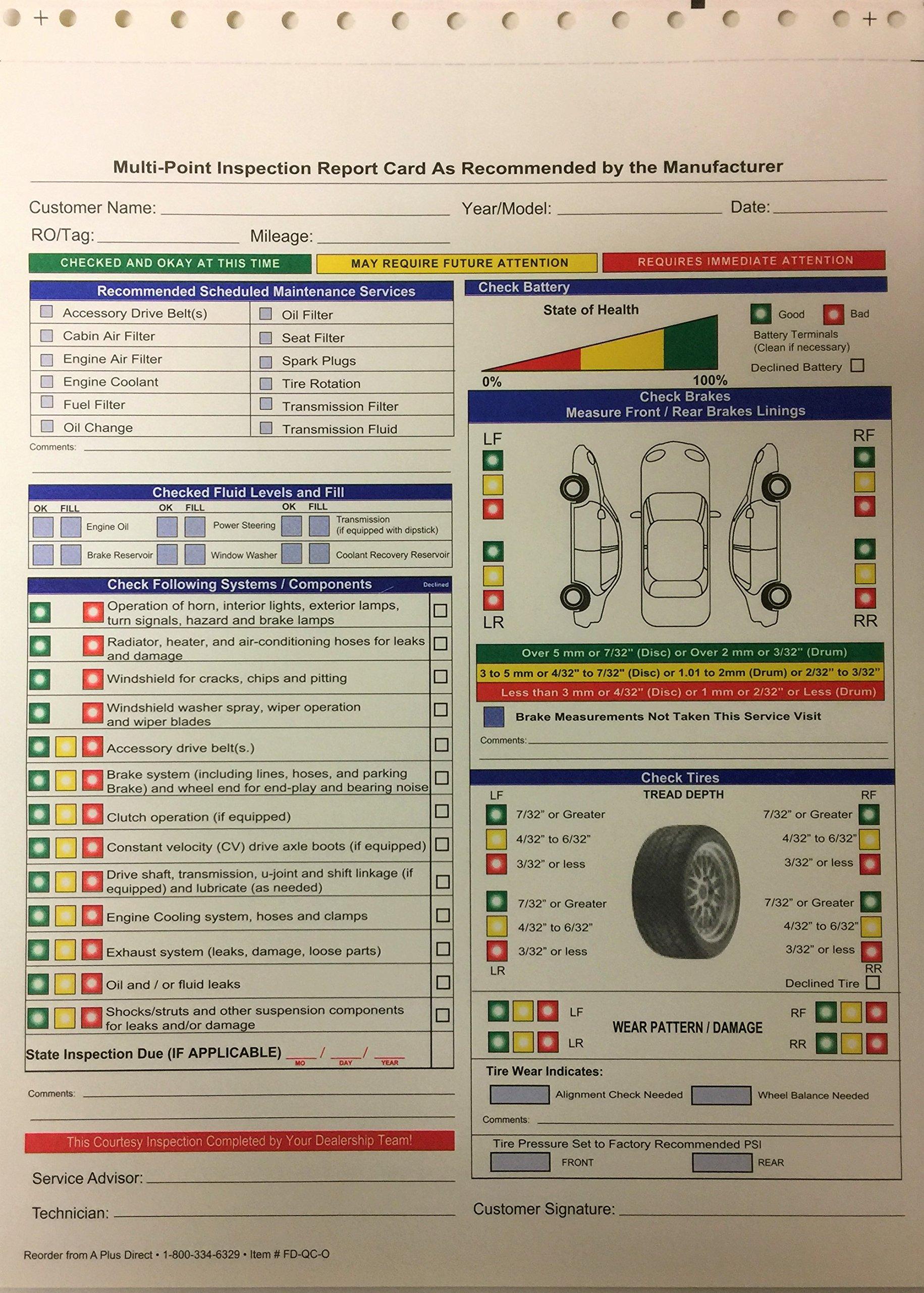 Auto Repair Multi Point Inspection Forms (2 Part NCR,) Quantity 500 (P8)