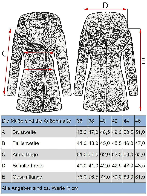 Peak Time Damen Übergangs Jacke Woll Mantel Trenchcoat V 1507 in Schwarz Gr. 46