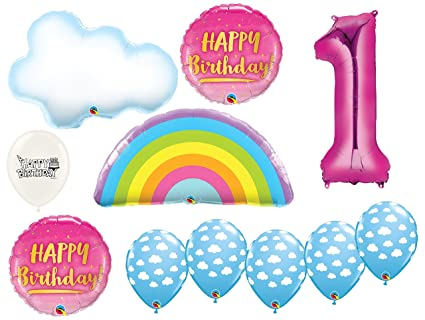 Amazon.com: Rainbow and Clouds - Globos de fiesta de primer ...