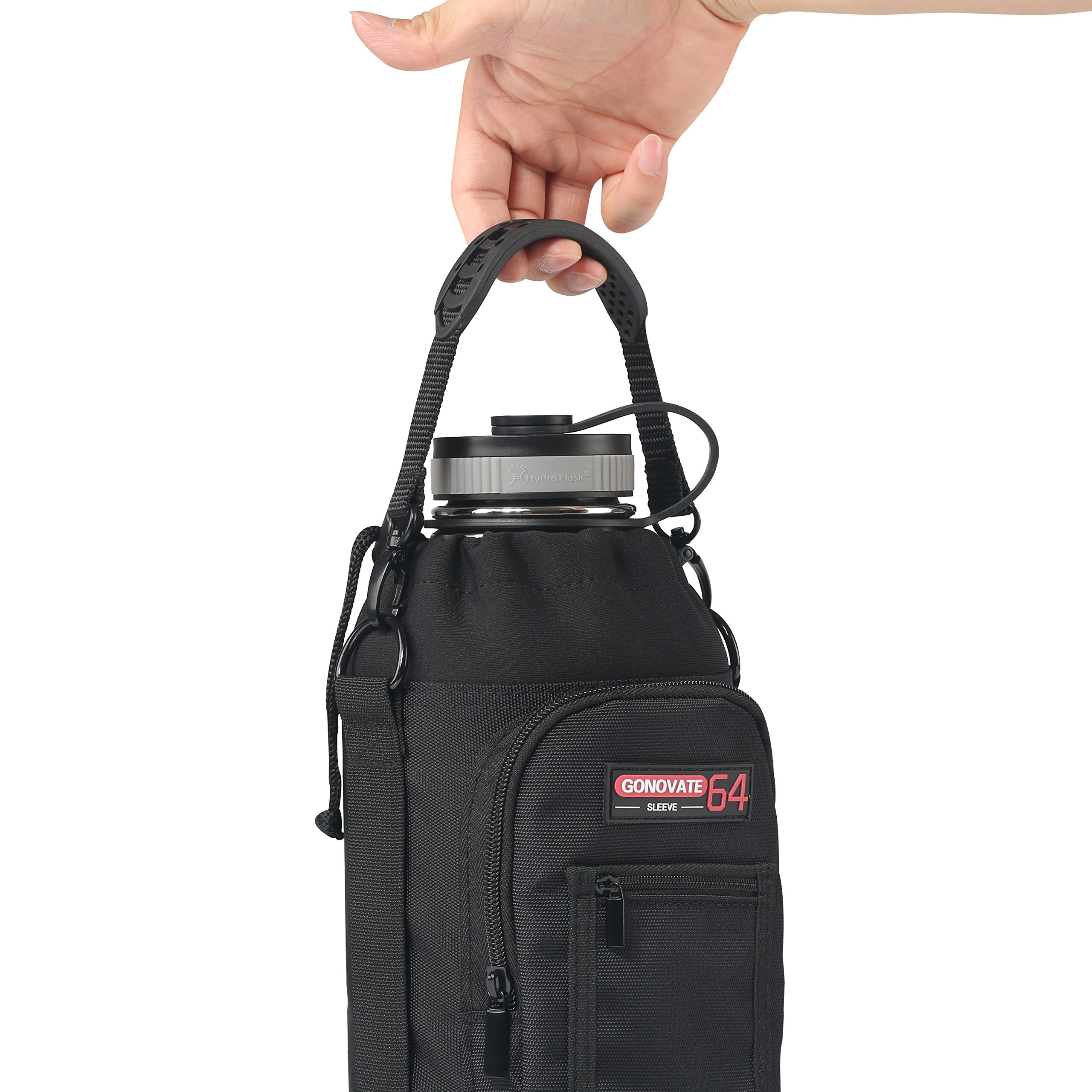 GoNovate 64 oz Pouch/Sleeve with Carrying Handle for Hydro Flask Bottles, w/2 Pockets and Adjustable Shoulder Strap by GoNovate (Image #2)