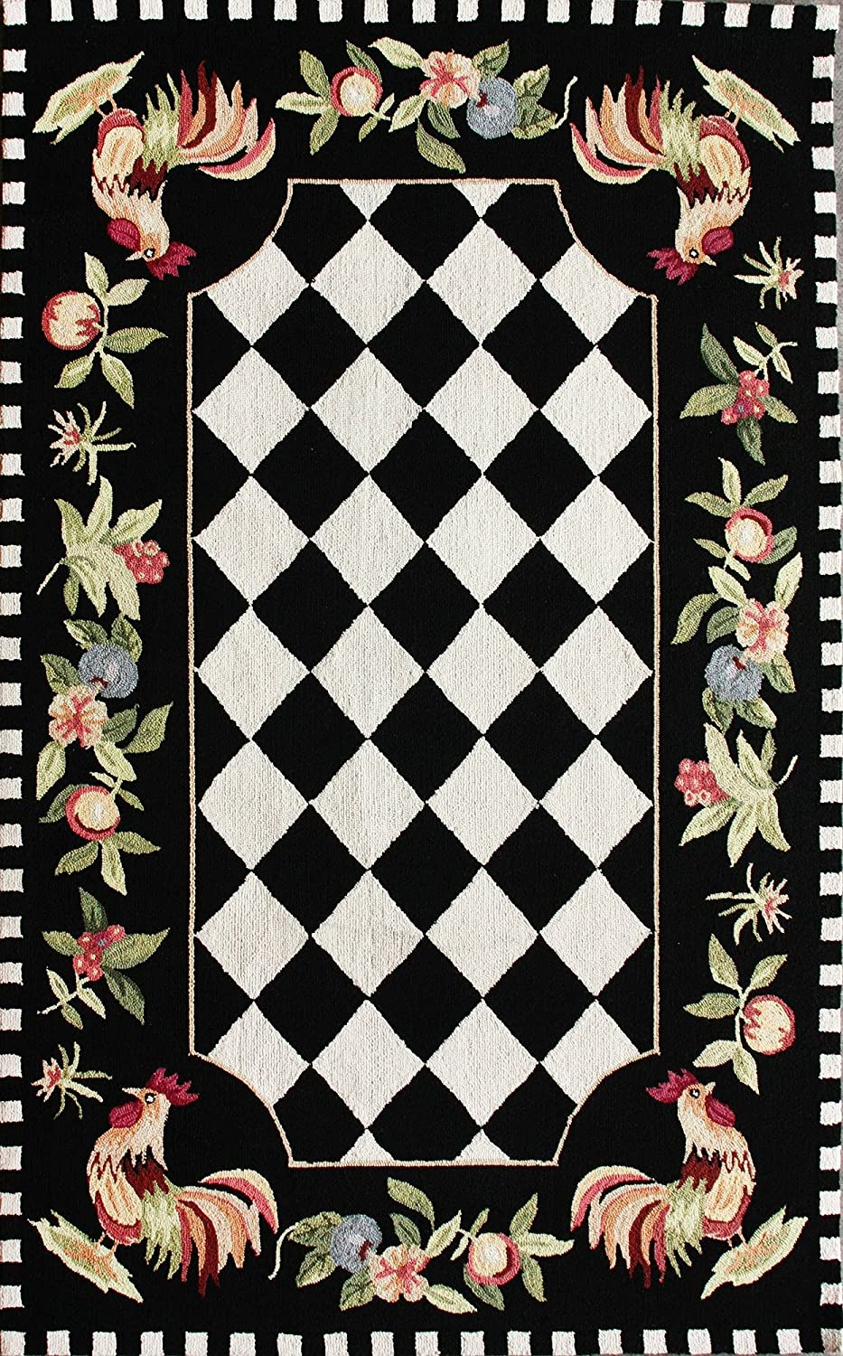 Black & White Checkered Farmhouse Rooster Area Rug