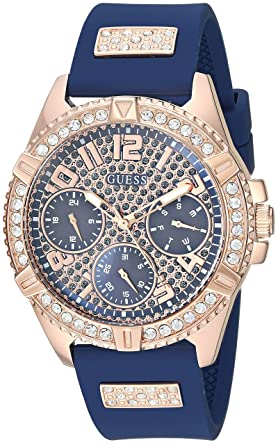 9c38271e7 GUESS Comfortable Rose Gold-Tone + Blue Stain Resistant Silicone Watch with  Day, Date