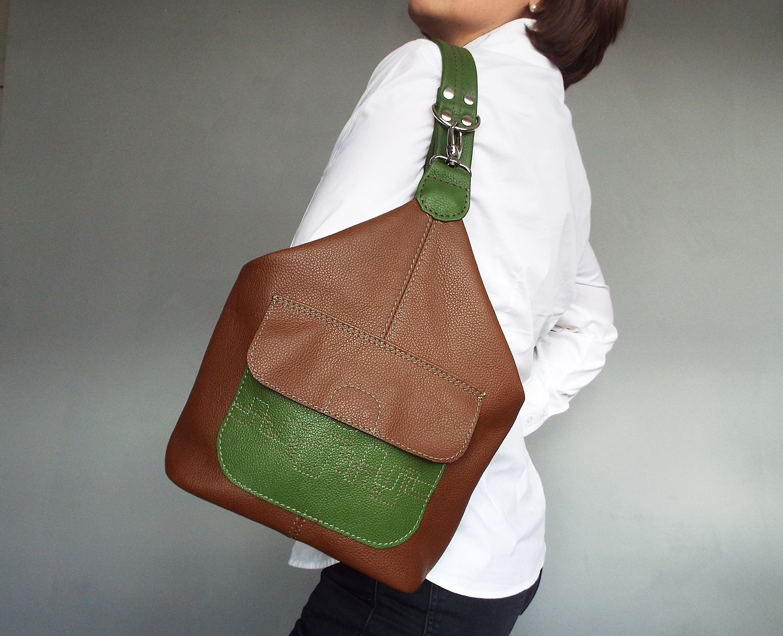 Leather backpack. Brown and green rucksack. One Strap Backpack. Woman rucksack leather. Small leather backpack. Brown green shoulder bag.
