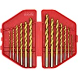 Industrial Titanium Drill Bit Set,Good For Drilling In Steel, Steel Alloy, Wood, Plastic, Metal, And Many Other Materials, 13 Pieces