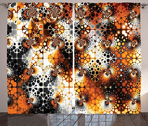 Futuregrace Burnt Orange Decor Blackout Curtains, Vintage Mosaic Pattern with Burnt Floral Curve Features Abstract Graphic Art, 2 Panels Darkening Drapery Curtains, 104 W by 96 L, Black Orange Grey