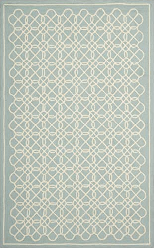 Safavieh Chelsea Collection HK739B Hand-Hooked Blue and Ivory Premium Wool Area Rug 7'9″ x 9'9″